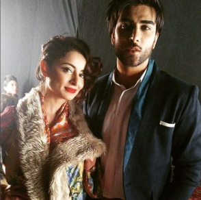 Sarwat Gillani with Imran Abbas at backstage