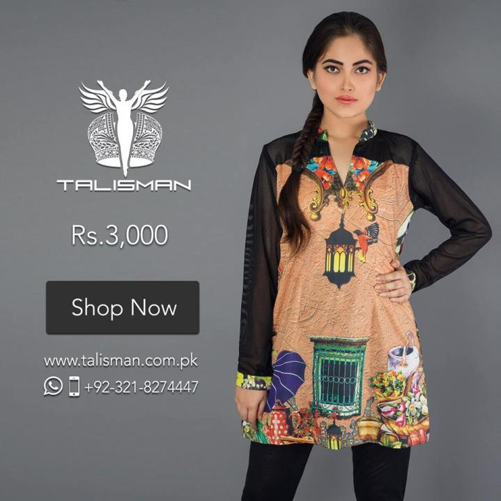 Contemporary motifs scattered all over, depicting fusion of wisely designed multiple themes. Stylized respectively for women with a bold style statement